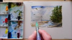 A pen and Wash Watercolour Demonstration of a Shoreline. With a Water br...