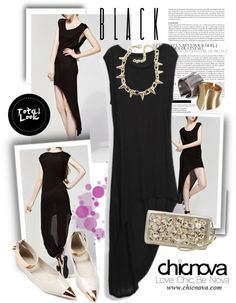 """Chicnova.com"" by houseofhauteness on Polyvore  Dress: http://www.chicnova.com/asymmetrical-black-dress-in-cotton.html  Shoes: http://www.chicnova.com/vintage-point-flat-shoes-with-metal-toe-cap.html  Clutch:http://www.chicnova.com/pearl-and-rhinestone-clutch-with-wrist-strap.html"