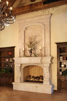Tuscan elegant bedroom fireplace. WOW!!