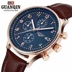 42.3$  Buy here - http://aiemd.worlditems.win/all/product.php?id=J1269BRG-BL - GUANQIN Luxury Brand Fashion Genuine Leather Men Casual Quartz Watch 30M Waterproof Calendar Male Business Watch with 3 Sub-dials