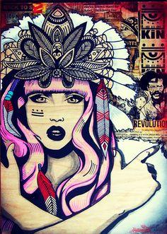 Tribal girl, penacho, ink drawing , spray paint , collage , street art , stencil ,female, mixed media, pop surrealism, urban art , kathrina rupit