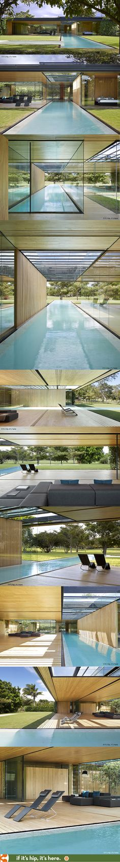 A stunning L-shaped pool melds the exterior with the interior of this Costa Rica home. | http://www.ifitshipitshere.com/the-inout-house-in-costa-rica-by-architect-joan-puigcorbe/