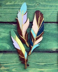 Hand painted wooden feathers home decor by DumontsHandicrafts