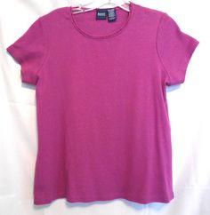 Basic Editions Purple  Silver Fleck Top Size M Laced Scoop Neck Short Sleeve #BasicEditions #KnitTop #Career