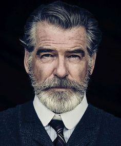 Portrait Photography Inspiration Picture Description Pierce Brosnan Jokes His Wife Is 'Very Fond' of the Beard He Grew for 'The Son'. Men's Healthy Pierce Brosnan, Foto Face, Hair And Beard Styles, Hair Styles, Beard No Mustache, Beard Care, Beard Growth, Male Face, Face Men