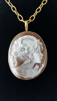 Extra Large Shell Cameo Pendant/Brooch in 14K gold