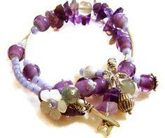 Purple Wrap Bracelet Amethyst Silver Key Lucite by MsBsDesigns, $18.00