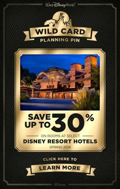 You found a Walt Disney World Planning Pin Wild Card! Click to check out this special offer on Walt Disney World Resort hotels and follow @Walt Disney World for more Tips and Tricks! #save #vacation