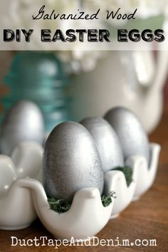Galvanized Wooden Easter Eggs, an Easy Spring Spray Paint Project Spray Paint Projects, Diy Craft Projects, Easter Bunny Decorations, Holiday Decorations, Holiday Crafts, Seasonal Decor, Craft Stick Crafts, Diy Crafts, Easter Crafts For Kids
