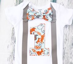 Baby boy fox theme birthday onesie with bow tie and suspenders, Fox theme cake smash outfit baby boy first birthday one year outfit by LoveAndLollipopsBaby on Etsy