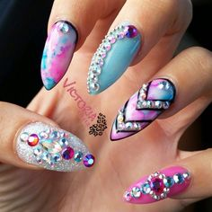 pink & blue watercolor stilletto nails with gemstones  Magical marble by Victorianailz from Nail Art Gallery