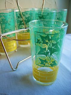 Vintage glass set. I had two of these ivy glasses until one broke...