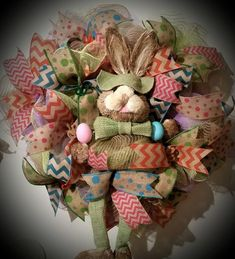 Easter Deco Mesh wreath Natural Jute Door Wreath with colored eggs, picks and ribbons. Spring wreat