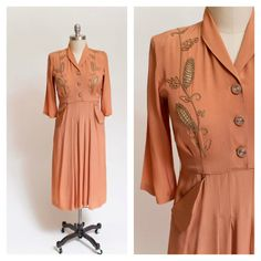 Vintage 1940s Dress Copper Rayon Crepe 40s by stutterinmama