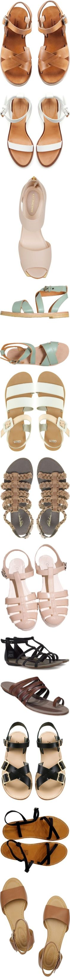"""""""Flat Strappy Sandals"""" by burnishedgold ❤ liked on Polyvore"""