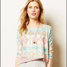 """Anthropologie Morgana Pullover Top Cute pastel top by Akemi+Kin in excellent condition! Small armpit to armpit 19"""", length 25"""". 3/4 sleeves Anthropologie Tops"""