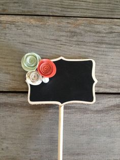 Coral, Mint  Cream - paper flowers and pearls standing mini chalkboard signs: wedding table numbers, dessert food labels, baby shower party
