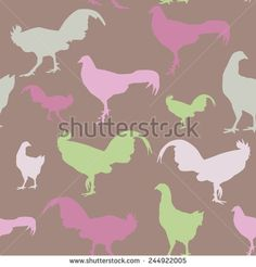 Seamless pattern with chickens and roosters, green, lilac, vector - stock vector