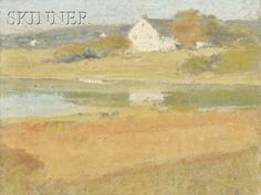 SUNNY LANDSCAPE WITH A WHITE FARMHOUSE