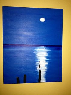 """Beach Moon "" Jane Kerr acrylic painting KerrsKritterArt and more"