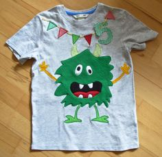 UNIKAT Freches T-Shirt/ Geburtstags-Shirt mit Applikation MONSTER, Gr.122/128 (Diy Baby Mat)