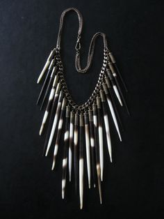i am so in love with this....Porcupine Quill Statement Necklace  Hystricidae  by savagesalvage, $148.00