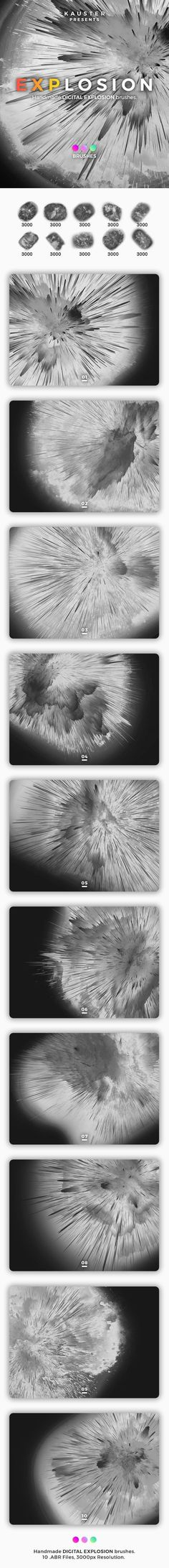 Buy Digital Explosion Brushes by kauster- on GraphicRiver. Digital Explosion Brushes This pack includes 10 Digital Explosion Brushes. Suitable for printing, web design, banner. Photoshop Brushes, Psychedelic, Web Design, Banner, Display, Abstract, Wallpaper, Digital, Prints