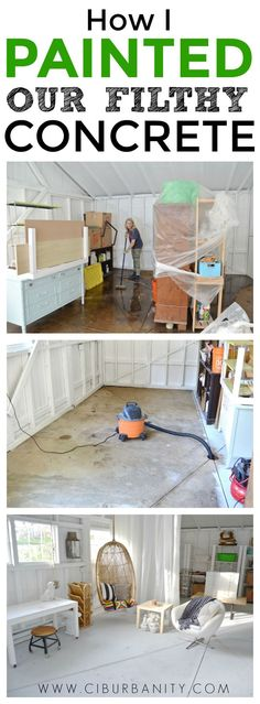 How to paint filthy concrete floors with only three small cans of paint!