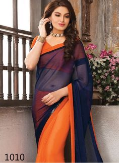 Kreckon Orange And Blue Georgette Party Wear Saree