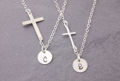 Mother Daughter Necklace silver cross necklace by MegusAttic
