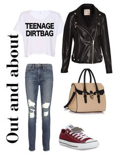 Out and about by jessmarrriee on Polyvore featuring polyvore, fashion, style, Pull&Bear, Frame Denim, Converse, StreetStyle and MyStyle