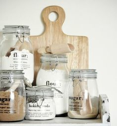 Mason Jar Kitchen Storage - Mason Jar Labels for Kitchen Storage