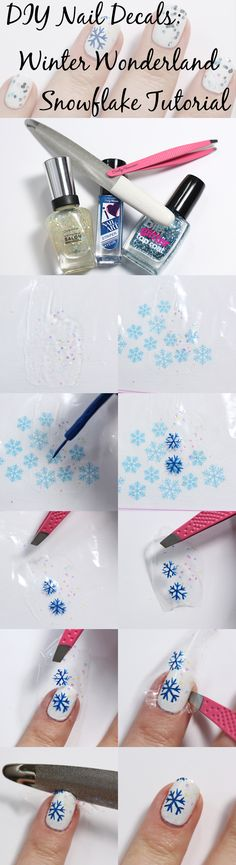 DIY Nail Decal Tutorial - Snowflakes via @alllacqueredup