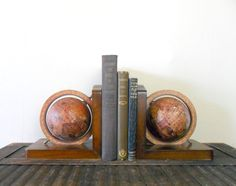 $45 - vintage old world globe bookends - study - map - cartography - wood