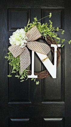 Spring and Summer Wildflower, Hydrangea, and Chevron Burlap Wreath With White Monogram, Spring Hydrangea Wreath. Year Round Wreath Yes. Front Door Decor, Wreaths For Front Door, Front Doors, Front Porch, Cute Crafts, Diy And Crafts, Chevron Burlap Wreaths, Monogram Wreath, Burlap Bows