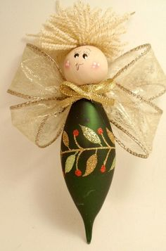 green teardrop angel ornament by brightideasbylorrie on etsy jokoschneepuppeengelchendiy und selbermachenmuster dekorationweihnachtenbasteln - Ngel Muster Selber Machen