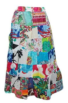 Patchwork Skirts, Bohemian Skirt, Summer Skirts, Skirt Fashion, Trunks, Floral Prints, Sequins, Indian, Amazon