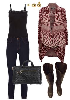 #ootd casual Friday, skinny denim, Aztec cardigan, brown boots, betsey Johnson bag, gold studs #outfit #style