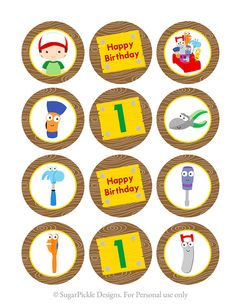 Handy Manny Cupcake Toppers 1st Birthday Handy by SugarPickleParty