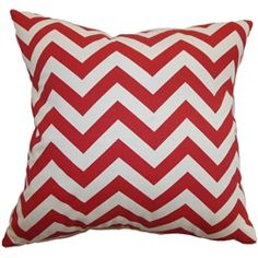 "Provide a fresh look for your interior with this scene-stealing zigzag pillow. This square pillow features a contemporary zigzag print pattern in lipstick red and natural color palette. This accent pillow adds a pop of color to your living room or bedroom. This 18"" pillow is made from well-crafted material which is 100% soft cotton fabric. Pair this decor pillow with solids and patterns to bring a chic twist to your space. $55.00   #zigzag  #pillows  #homedecor  #chevron"