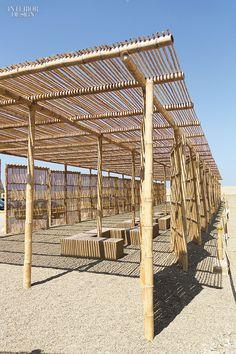 Utopus Updates Peru Visitor Center With Stunning Bamboo Latticework Bamboo Structure, Shade Structure, Bamboo Architecture, Sustainable Architecture, Outdoor Restaurant Patio, Bamboo House Design, Bamboo Building, Hut House, Gabion Wall Design