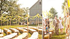 Hay bails and ribbons- I kinda like this for the ceremony and then have the tables and chairs set up in the back