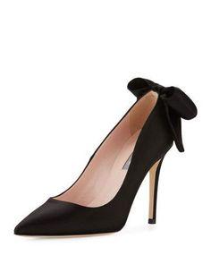 SJP BY SARAH JESSICA PARKER LUCILLE SATIN BOW PUMP, BLACK. #sjpbysarahjessicaparker #shoes #pumps