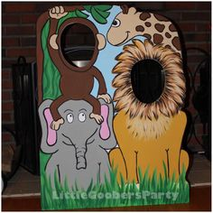 Jungle Birthday Party Prop . Jungle Cutout . Safari Face in Hole Photo Booth Prop