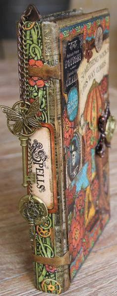 diy book of spells spell book for Halloween using steam punk scrapbooking trinkets Graphic 45, Altered Books, Altered Art, Book Journal, Art Journals, Art Journal Covers, Bullet Journal, Mini Albums, Scrapbooking