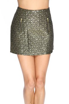 Make a statement in this sexy mini skirt it includes; quilted pattern, two front zipper pockets, back zipper closure, and fitted. 100% Polyester.