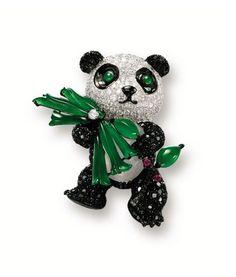 Lot 1756 - JADEITE, ICY JADEITE, RUBY, BLACK DIAMOND AND DIAMOND 'PANDA' BROOCH