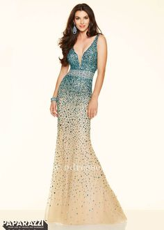 Sexy Turquoise/Nude Long Prom Dress Shimmering Stones and Sequins
