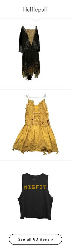 """Hufflepuff"" by georginasmith-wastaken ❤ liked on Polyvore featuring dresses, 1920s, vintage, 1920's, gold flapper dress, beaded cocktail dress, lace dress, gold lace dress, vintage beaded cocktail dress and H&M"