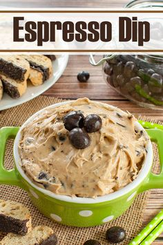 Calling all coffee lovers! Easy, no bake dessert or appetizer perfect for a party, potluck or brunch. Fun idea for New Year's Day! This make ahead chocolate espresso dip will be a hit with your guests. Serve with fruit, cookies or graham crackers. #desserts #dips #chocolate #coffee #espresso #sweets Easy Chocolate Desserts, Easy No Bake Desserts, Chocolate Recipes, Just Desserts, Dessert Dips, Coffee Dessert, Dessert Recipes, Coffee Coffee, Dip Recipes